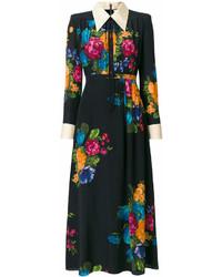 schwarzes Shirtkleid mit Blumenmuster von Gucci