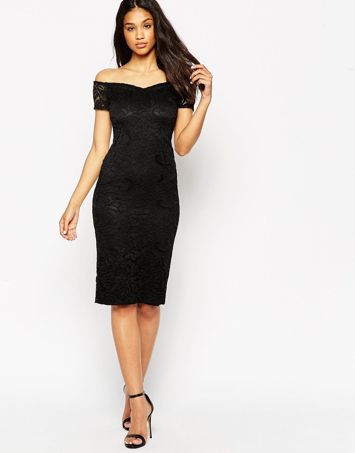 760813eb8fd3 schwarzes Spitze figurbetontes Kleid von Asos   Wo zu kaufen und wie ...