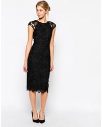 schwarzes figurbetontes Kleid aus Spitze von Ted Baker