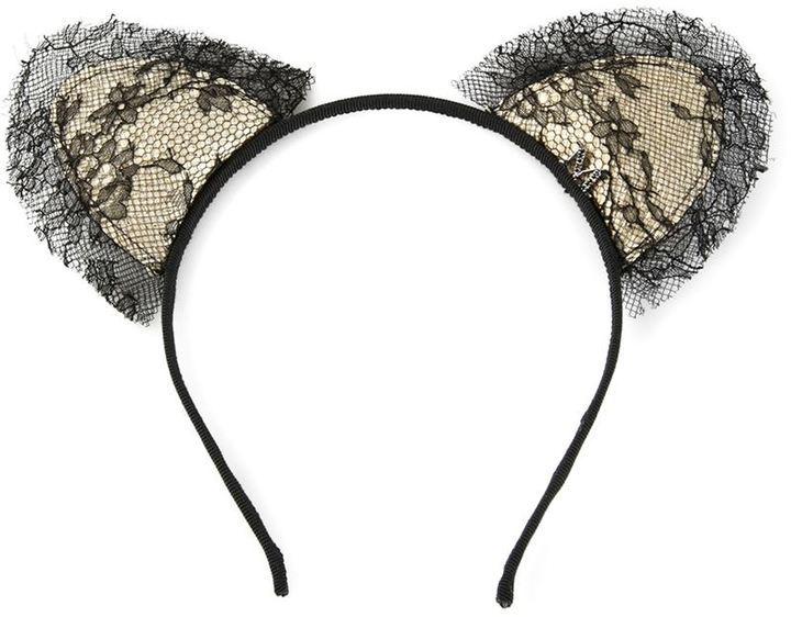 schwarzes Spitze Haarband von Maison Michel