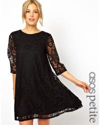 schwarzes Spitze schwingendes Kleid von Asos Petite