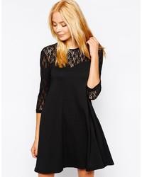 schwarzes Spitze schwingendes Kleid von Vero Moda