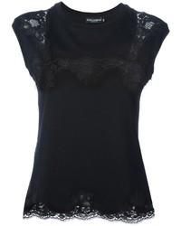 schwarzes Spitze T-Shirt mit einem Rundhalsausschnitt von Dolce & Gabbana