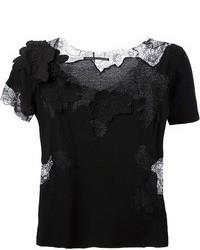 schwarzes Spitze T-Shirt mit einem Rundhalsausschnitt von Ermanno Scervino