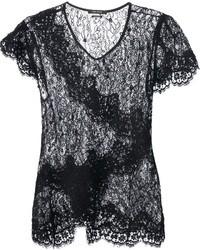 schwarzes Spitze T-Shirt mit einem Rundhalsausschnitt von Isabel Marant