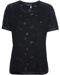 schwarzes Spitze T-Shirt mit einem Rundhalsausschnitt von Lanvin