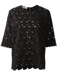 schwarzes Spitze T-Shirt mit einem Rundhalsausschnitt von Stella McCartney