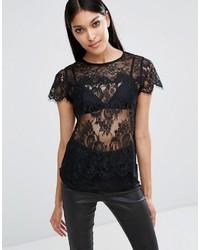 schwarzes Spitze T-shirt von Lipsy