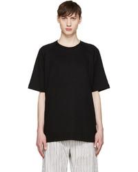 schwarzes Strick Seide T-Shirt mit einem Rundhalsausschnitt von Song For The Mute