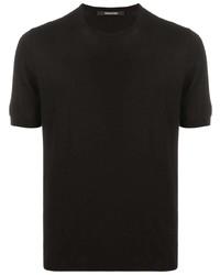 schwarzes Strick T-Shirt mit einem Rundhalsausschnitt von Tagliatore