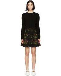 schwarzes Sweatkleid mit Blumenmuster von Valentino