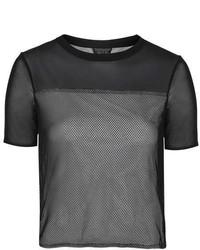 schwarzes T-Shirt mit einem Rundhalsausschnitt aus Netzstoff