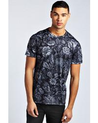 schwarzes T-Shirt mit einem Rundhalsausschnitt mit Blumenmuster