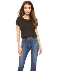 schwarzes T-Shirt mit einem Rundhalsausschnitt von AG Jeans
