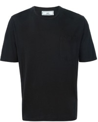 schwarzes T-Shirt mit einem Rundhalsausschnitt von AMI Alexandre Mattiussi