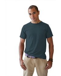 schwarzes T-Shirt mit einem Rundhalsausschnitt von Anvil