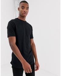schwarzes T-Shirt mit einem Rundhalsausschnitt von Bershka