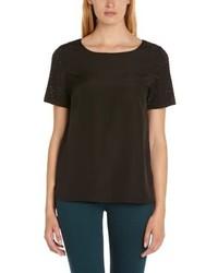 schwarzes T-Shirt mit einem Rundhalsausschnitt von Deby Debo