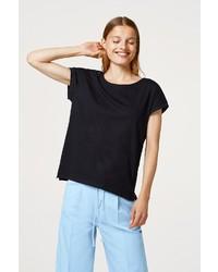 schwarzes T-Shirt mit einem Rundhalsausschnitt von edc by Esprit