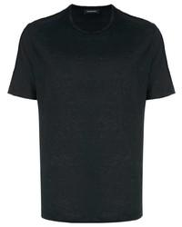 schwarzes T-Shirt mit einem Rundhalsausschnitt von Ermenegildo Zegna