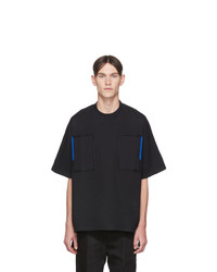 schwarzes T-Shirt mit einem Rundhalsausschnitt von Jil Sander