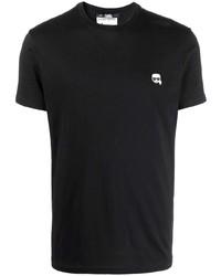 schwarzes T-Shirt mit einem Rundhalsausschnitt von Karl Lagerfeld