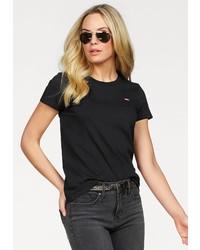 schwarzes T-Shirt mit einem Rundhalsausschnitt von Levi's