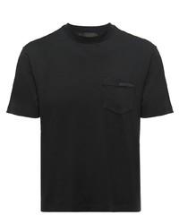 schwarzes T-Shirt mit einem Rundhalsausschnitt von Prada