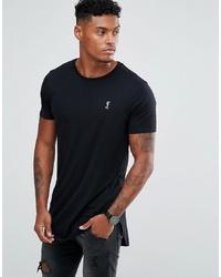 schwarzes T-Shirt mit einem Rundhalsausschnitt von Religion