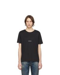 schwarzes T-Shirt mit einem Rundhalsausschnitt von Saint Laurent