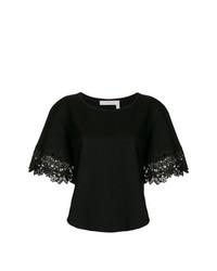 schwarzes T-Shirt mit einem Rundhalsausschnitt von See by Chloe
