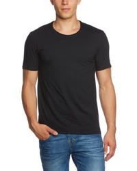 schwarzes T-Shirt mit einem Rundhalsausschnitt von Selected Homme