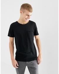 schwarzes T-Shirt mit einem Rundhalsausschnitt von Tom Tailor