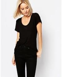 schwarzes T-Shirt mit einem Rundhalsausschnitt von Weekday