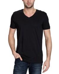 schwarzes T-Shirt mit einem V-Ausschnitt von BLEND