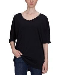 schwarzes T-Shirt mit einem V-Ausschnitt von Bobi