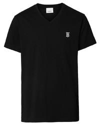 schwarzes T-Shirt mit einem V-Ausschnitt von Burberry