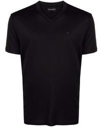 schwarzes T-Shirt mit einem V-Ausschnitt von Emporio Armani