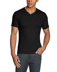 schwarzes T-Shirt mit einem V-Ausschnitt von GARCIA