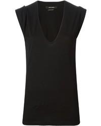 schwarzes T-Shirt mit einem V-Ausschnitt von Isabel Marant