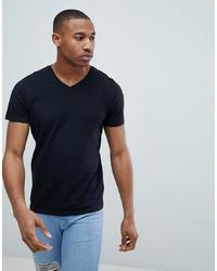 schwarzes T-Shirt mit einem V-Ausschnitt von Jack & Jones