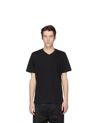 schwarzes T-Shirt mit einem V-Ausschnitt von Jil Sander