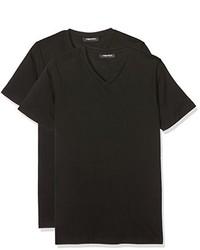 schwarzes T-Shirt mit einem V-Ausschnitt von Karl Lagerfeld