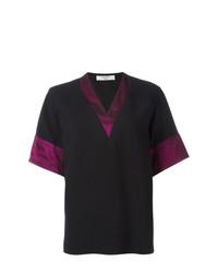 schwarzes T-Shirt mit einem V-Ausschnitt von Lanvin