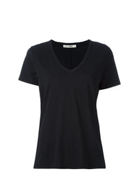 schwarzes T-Shirt mit einem V-Ausschnitt von Rag & Bone