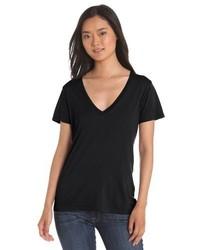 schwarzes T-Shirt mit einem V-Ausschnitt von Splendid