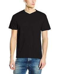 schwarzes T-Shirt mit einem V-Ausschnitt von Stedman Apparel