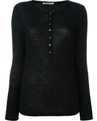 schwarzes T-shirt mit einer Knopfleiste von Alexander Wang