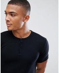 schwarzes T-shirt mit einer Knopfleiste von ASOS DESIGN