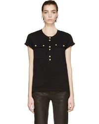 schwarzes T-shirt mit einer Knopfleiste von Balmain